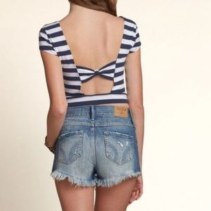 hollister navy white striped croptop bow cutout